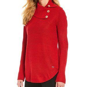 NWT Calvin Klein Ribbed Button Cowl Neck Sweater